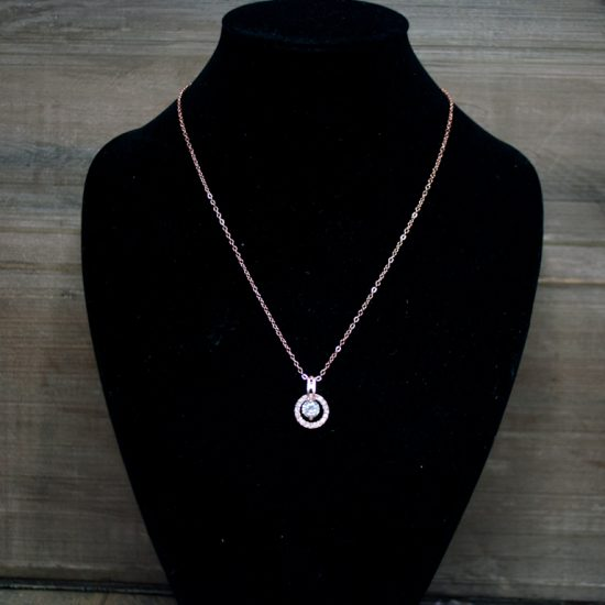 Ketting rose rond glitter