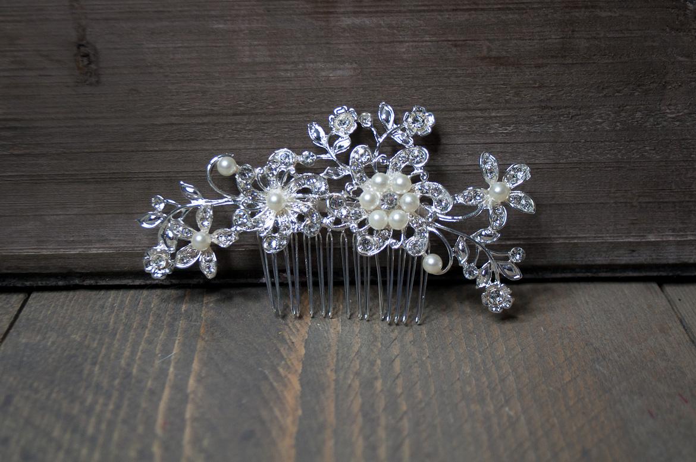 Haarkam glitter bloem