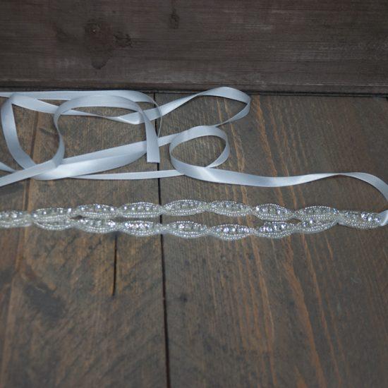 Haarband zilver strass vol