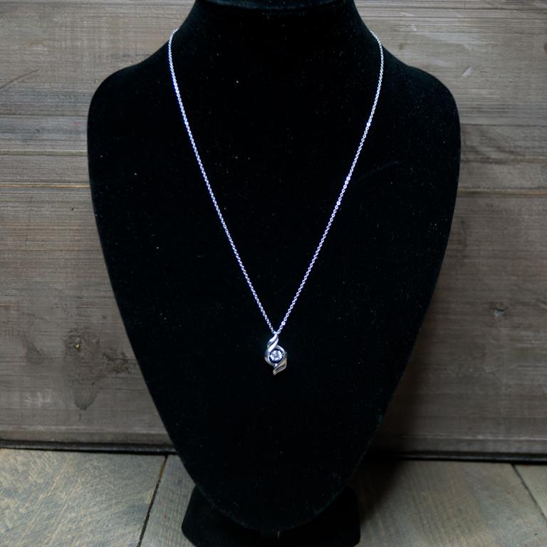 zilver pendant ketting met diamant