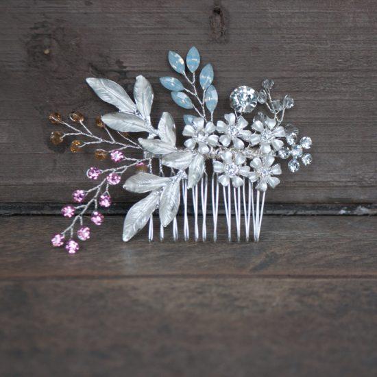 Haarkam zilver met gekleurde steentjes