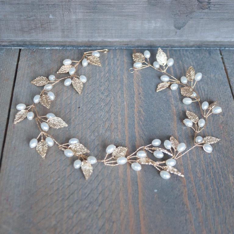 Haarsnoer goud parel blad