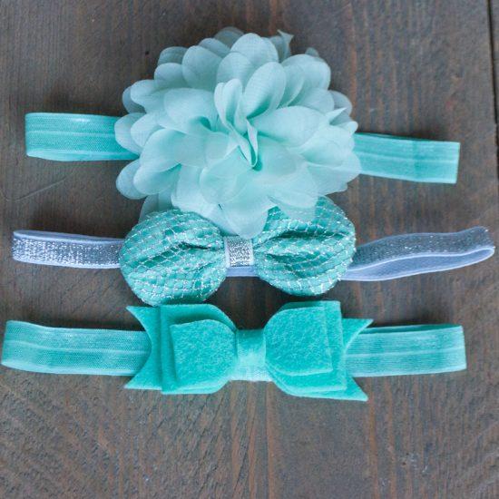 kinder haarband set 3st mint groen
